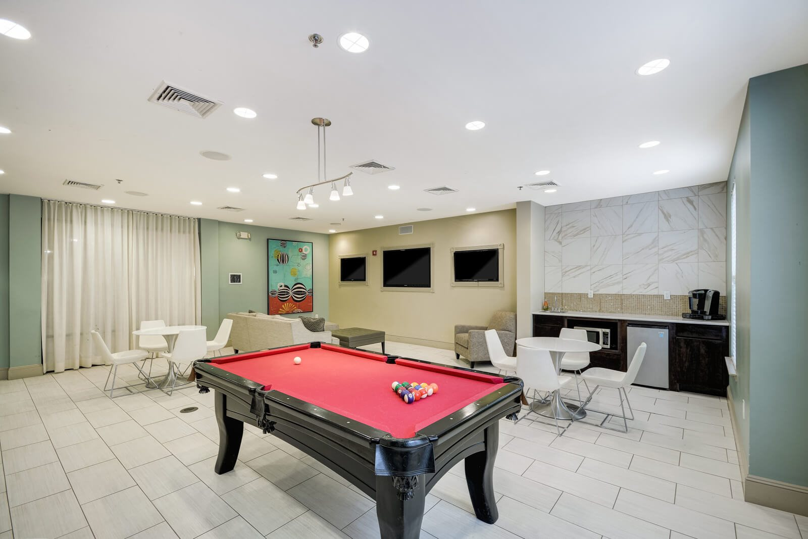 Recreation Room with Billiards Table at Windsor at Liberty House, Jersey City, NJ