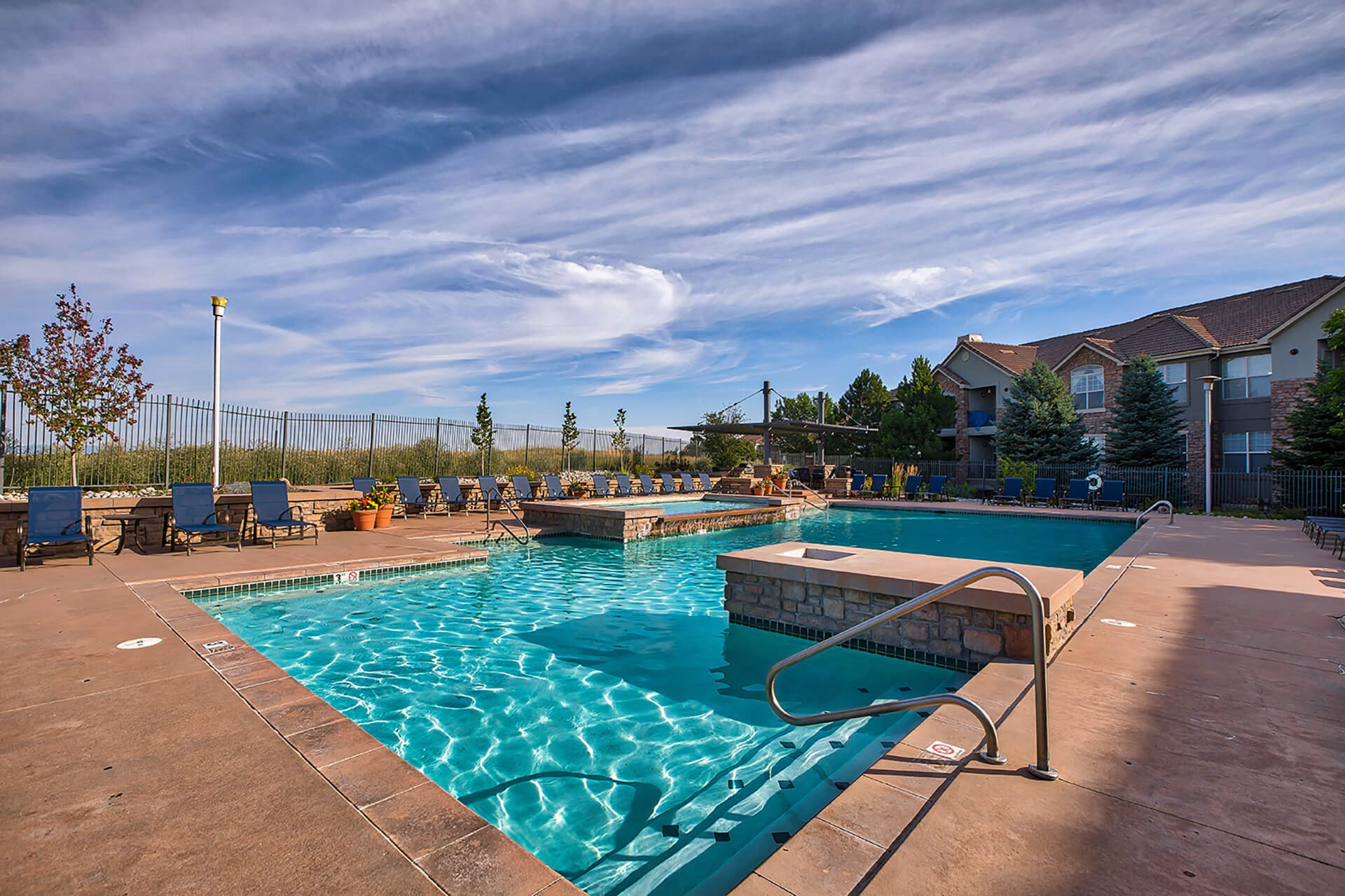 Tanning Area, Pool and Spa at Windsor at Meridian, Englewood, Colorado