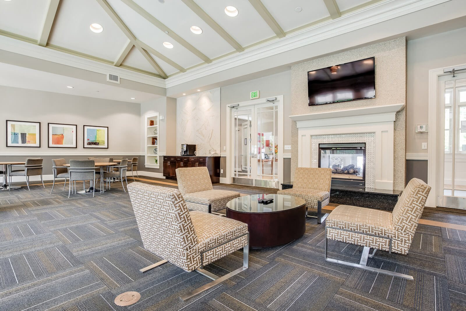 Community Lounge with Fireplace at Windsor at Oak Grove, Melrose, MA