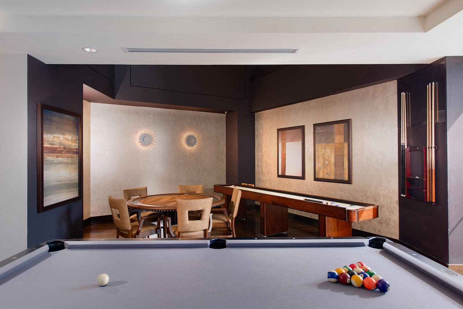 Billiards Table, Poker Table, and Shuffle Board In Clubroom at The Ridgewood by Windsor, Virginia, 22030
