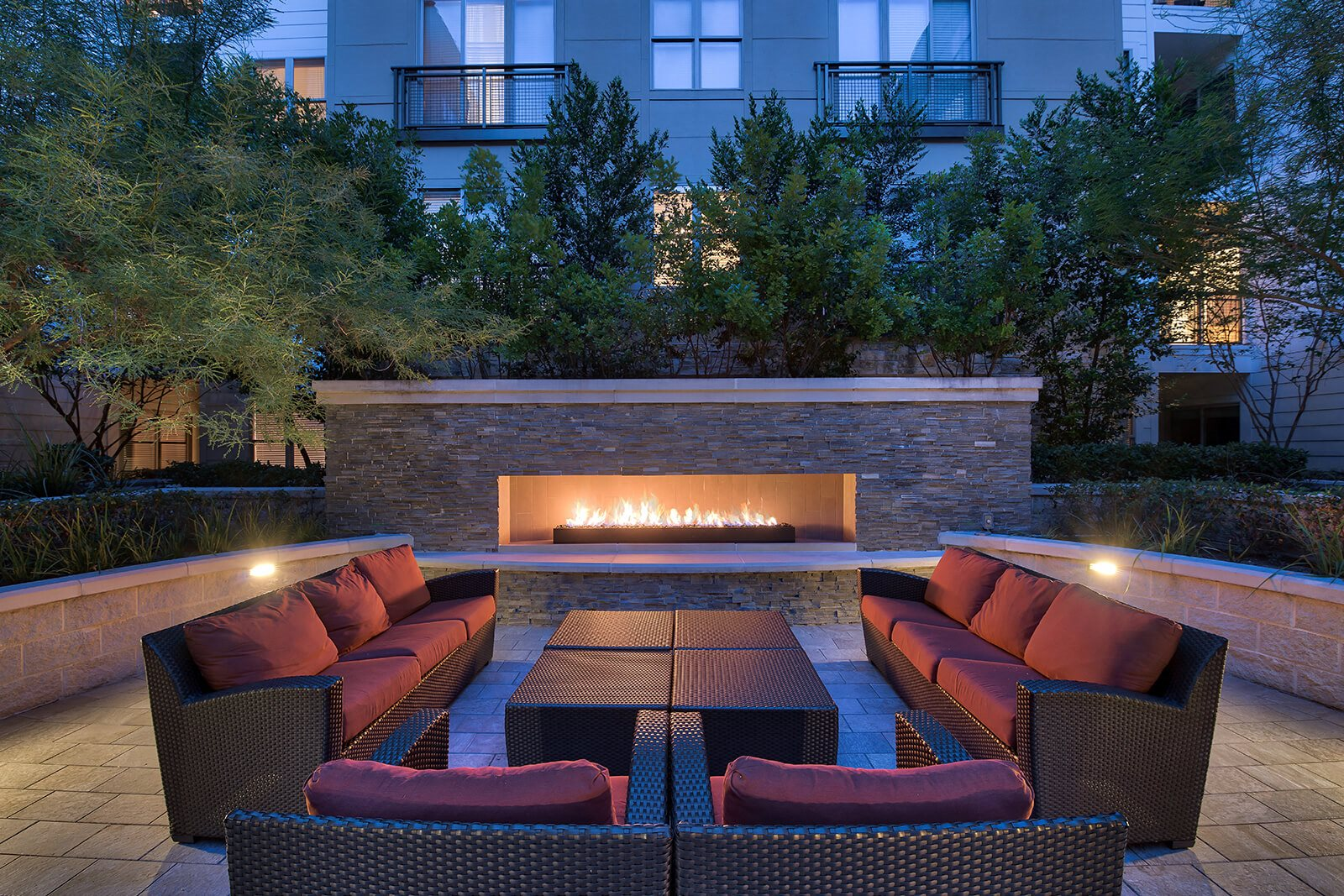 Relaxing Outdoor Lounge Area with Fireplace at Windsor South Lamar, Texas, 78704