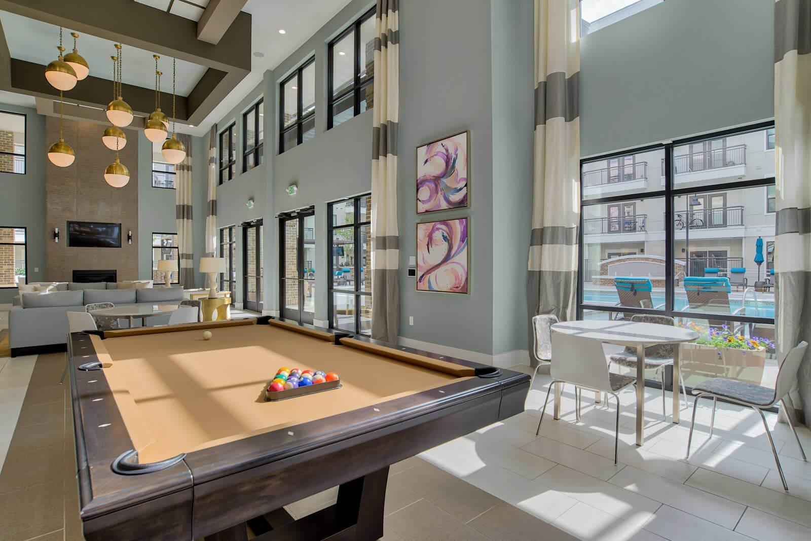 Billiards Table in Entertainment Lounge at Windsor Old Fourth Ward, Atlanta, Georgia