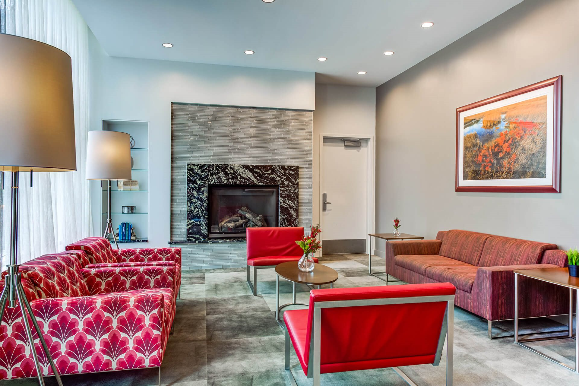 Relaxing Lounge Area with Fireplace at Waterside Place by Windsor, Boston, MA