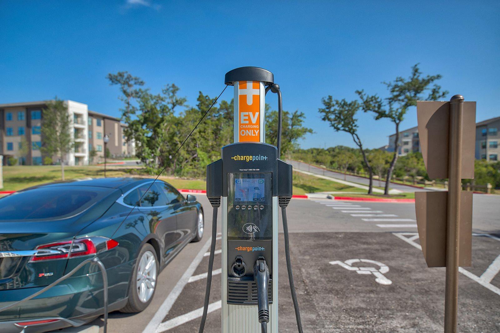 Electric car charging station at Windsor Lantana Hills, Austin, Texas