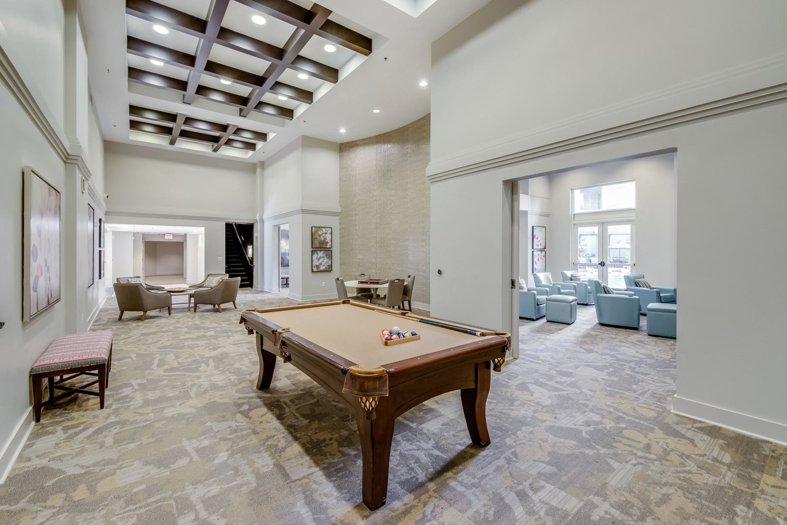 Game Room with Billiards and Poker Table at Windsor at Brookhaven, Atlanta, Georgia