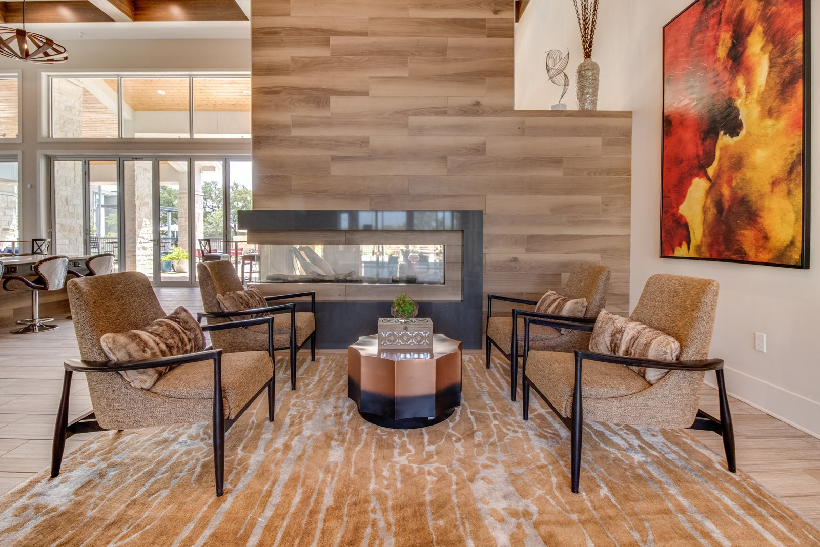 Resident Social Lounge with Fireplace at Windsor Republic Place, Austin, Texas