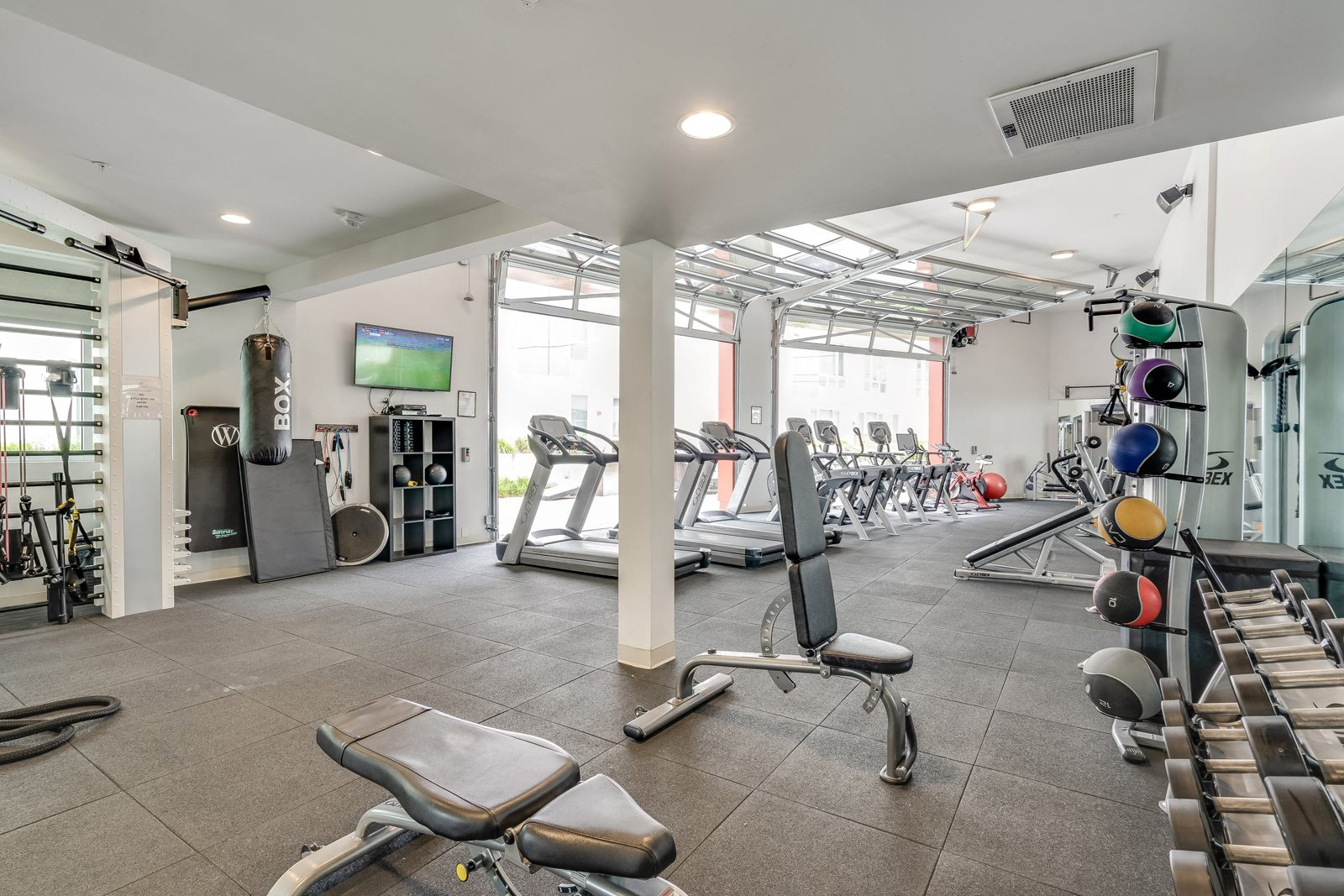 Fitness Center with Weightlifting and Cardio Equipment at Mission Bay by Windsor, 360 Berry Street, San Francisco