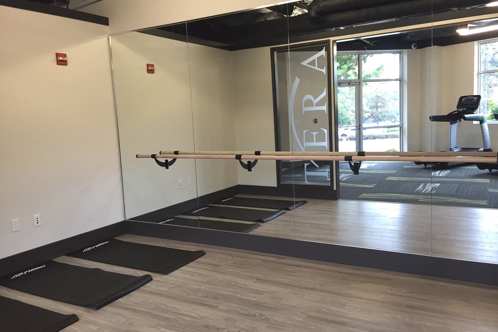 Yoga Stretching Area at Tera Apartments, Kirkland, Washington