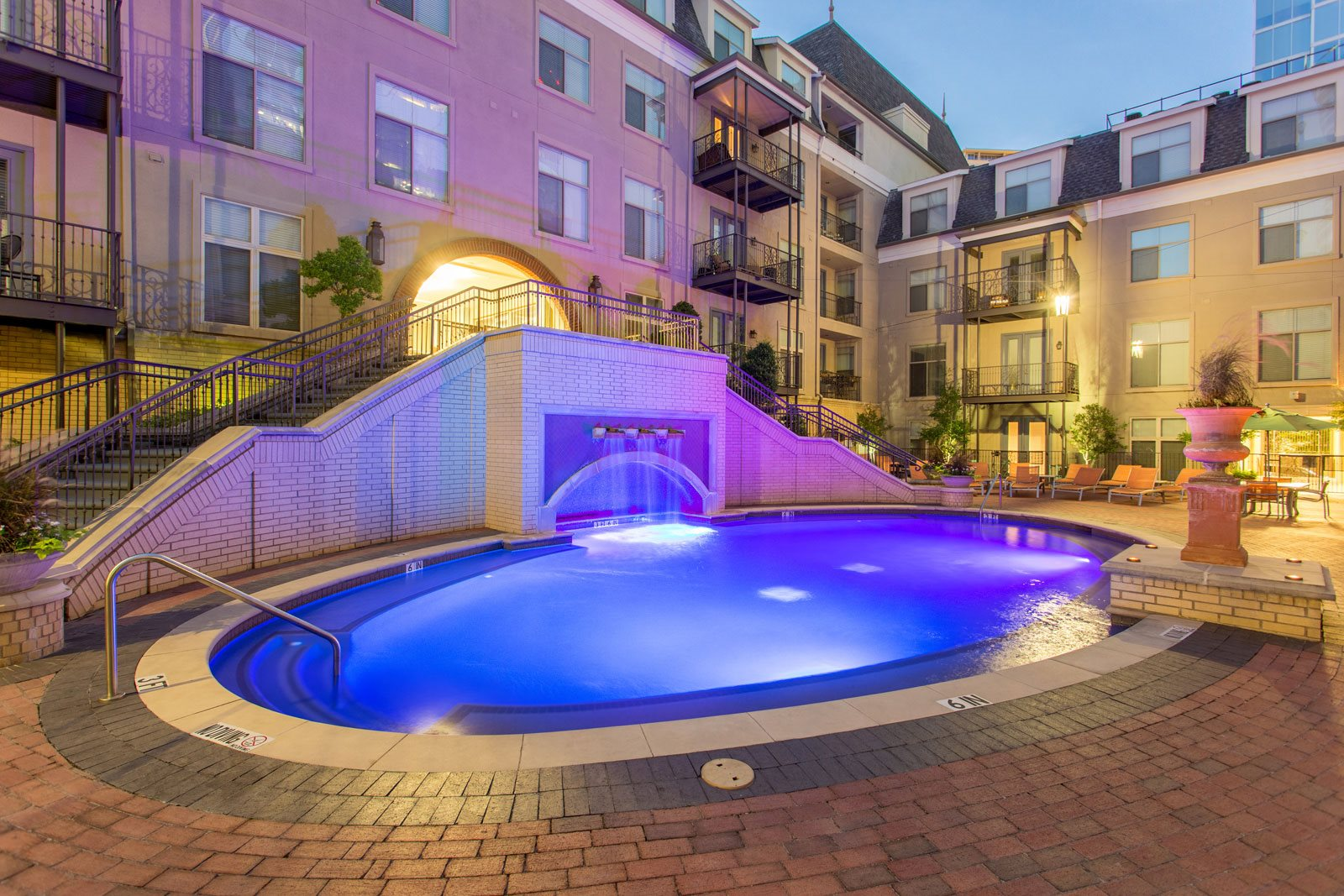 Sparkling Swimming Pool with Waterfall at Trianon by Windsor, Dallas, 75201