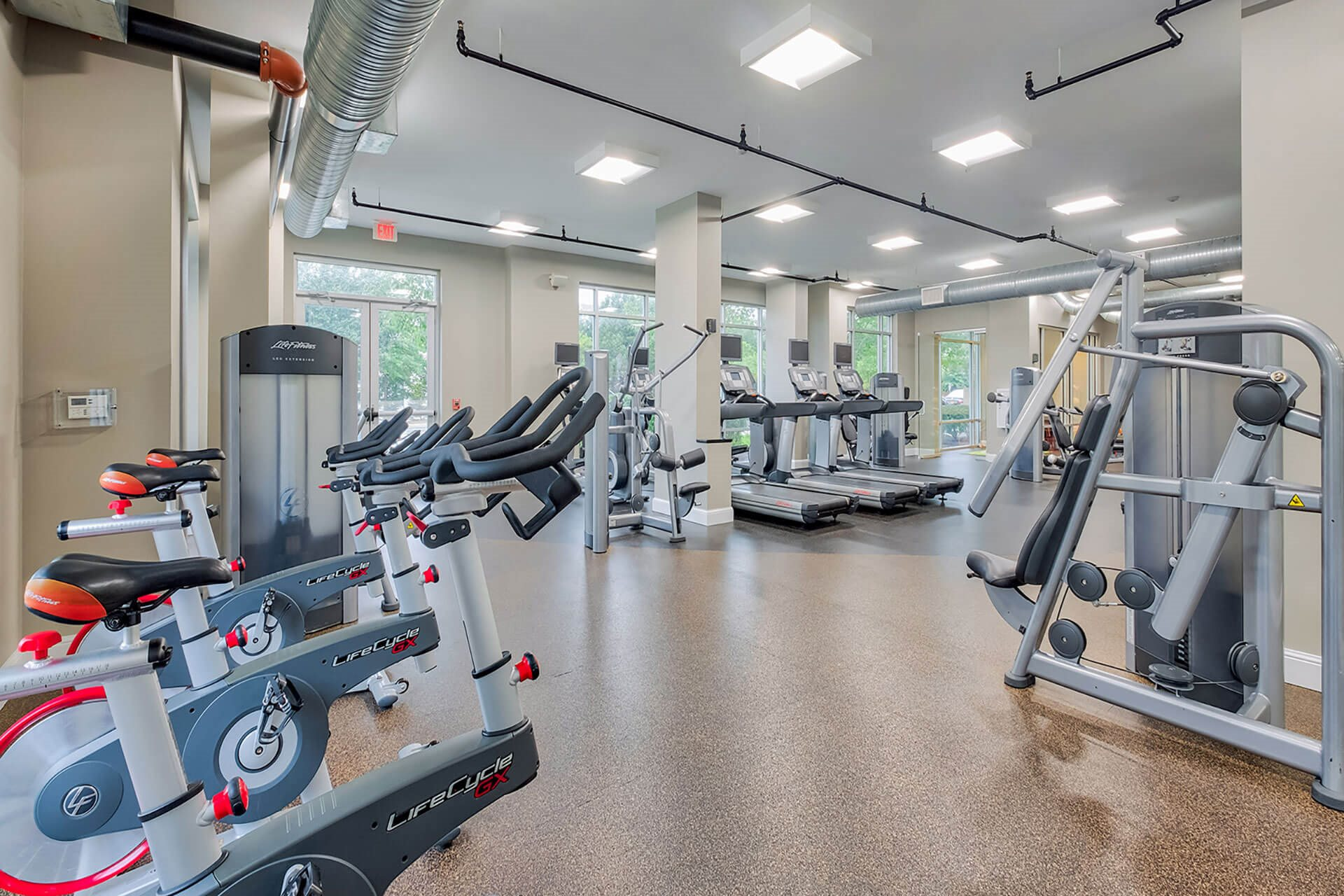 Fully-equipped fitness center at The Ridgewood by Windsor, 4211 Ridge Top Road, Fairfax