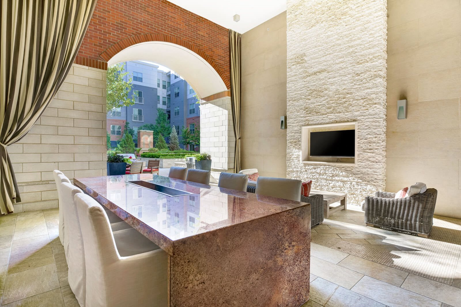 Entertaining Space in Outdoor Lounge at Windsor at Cambridge Park, Cambridge, Massachusetts