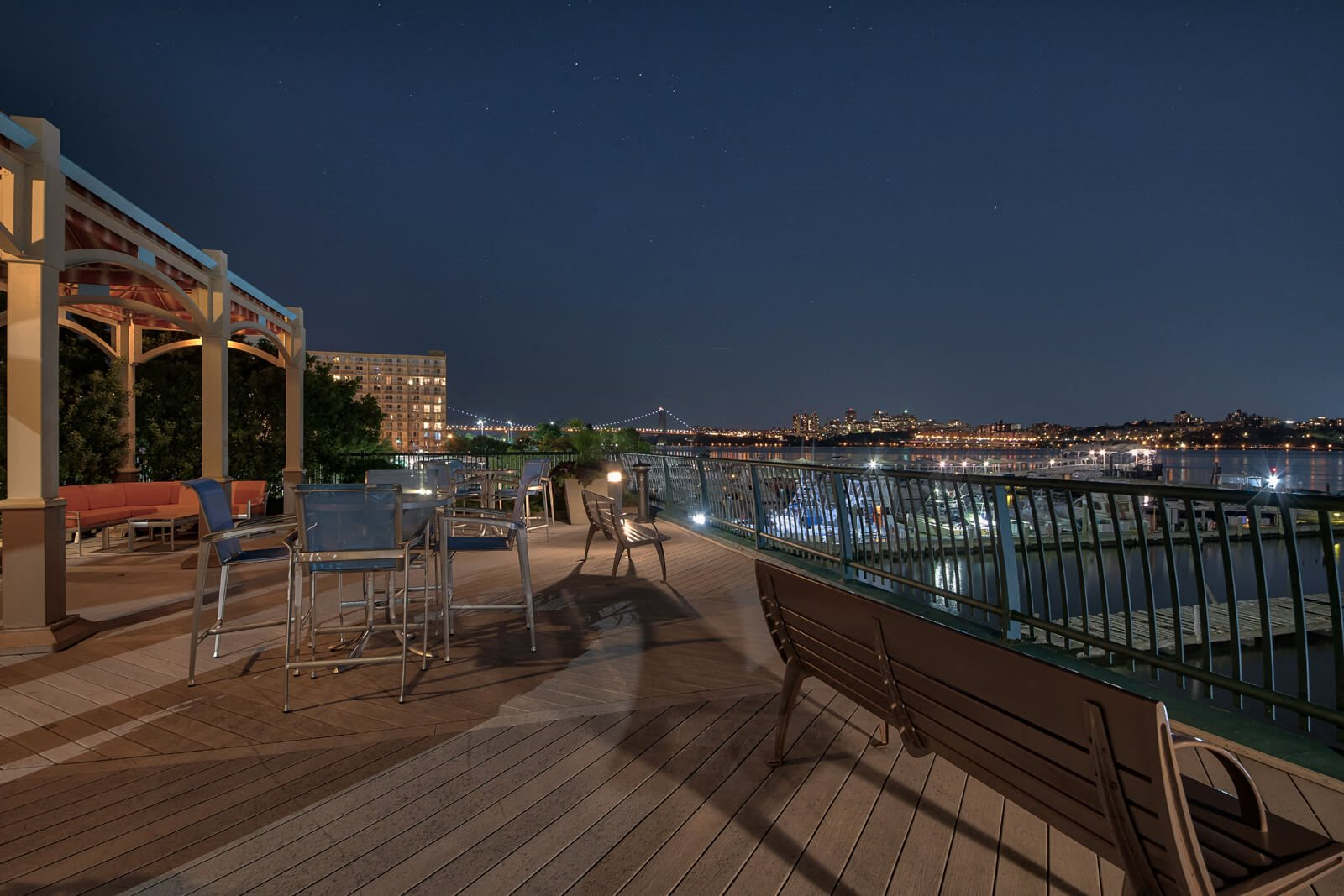 Stunning Night View from Outdoor Deck at Windsor at Mariners, New Jersey, 07020