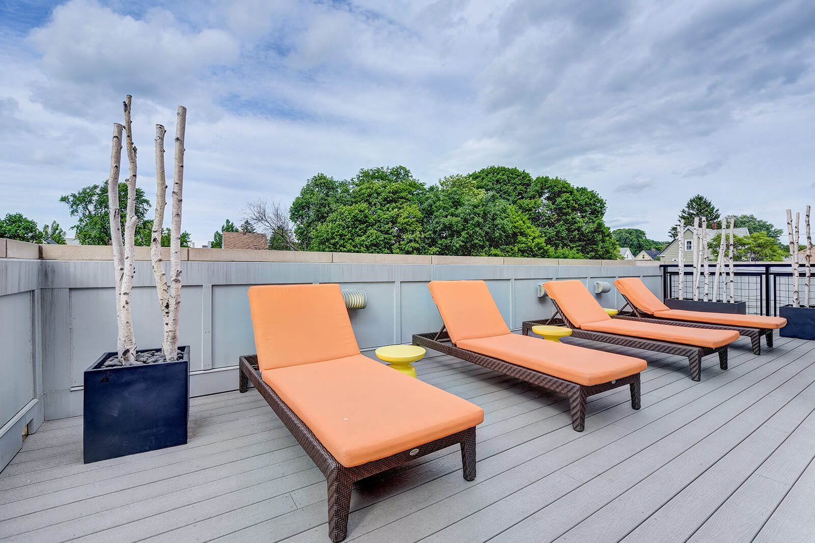 Rooftop Deck with Lounge Chairs and Stunning Views at Windsor at Maxwells Green, Somerville, Massachusetts