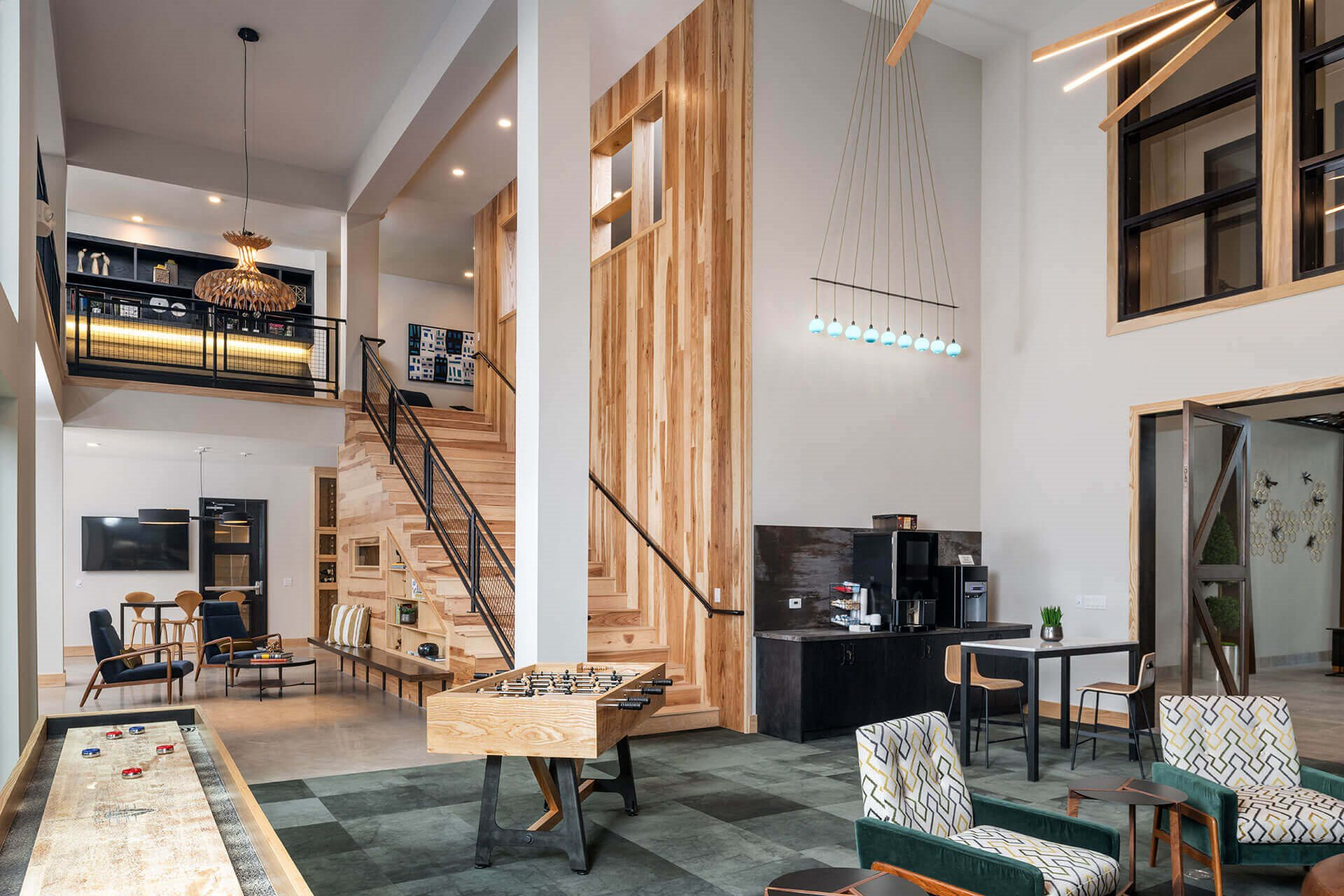 Expansive clubhouse with Coffee and Tea Station at Windsor Burnet, Austin, Texas