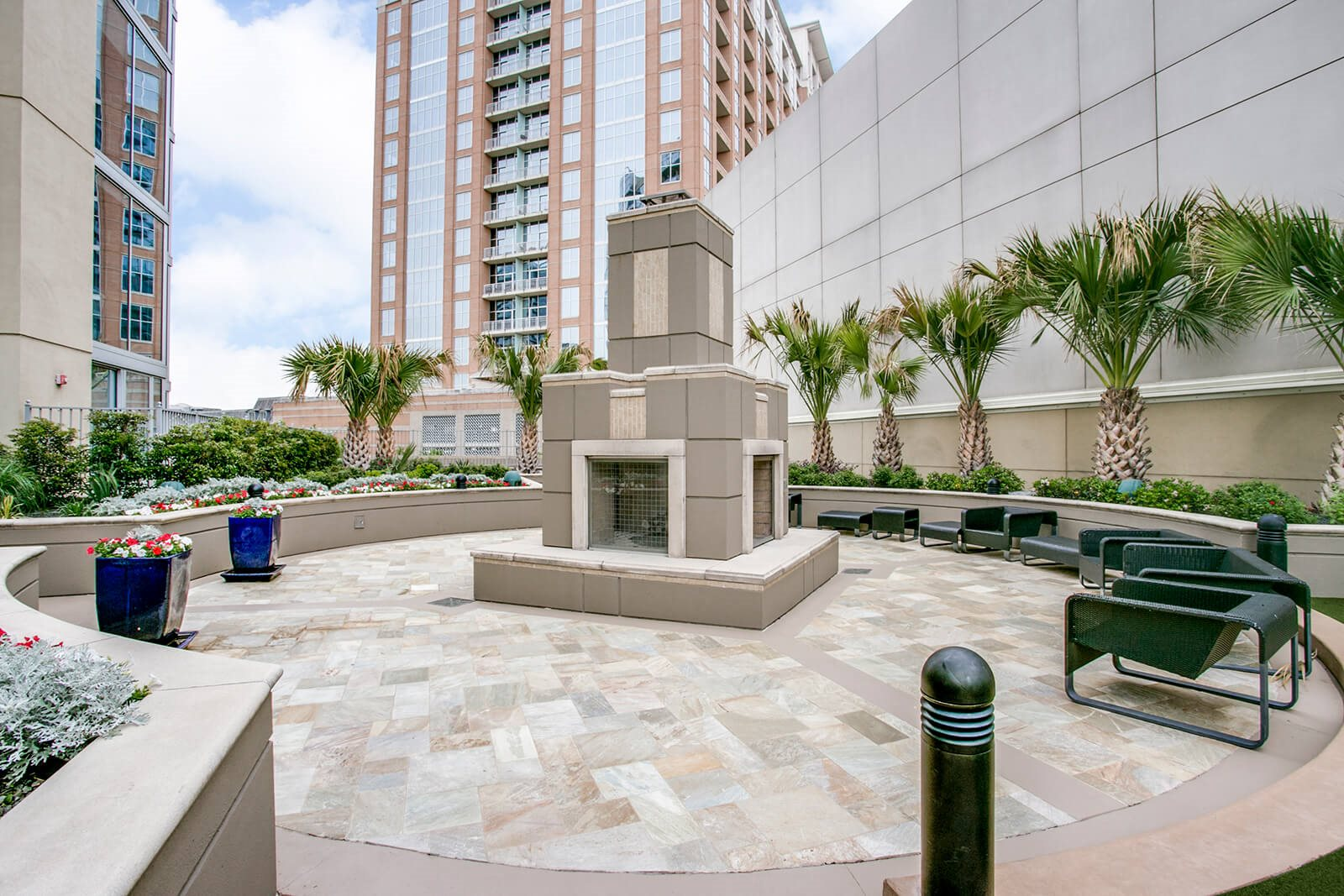 Outdoor Sky Deck with Fireplace and Professional Landscaping at Glass House by Windsor, Texas, 75201