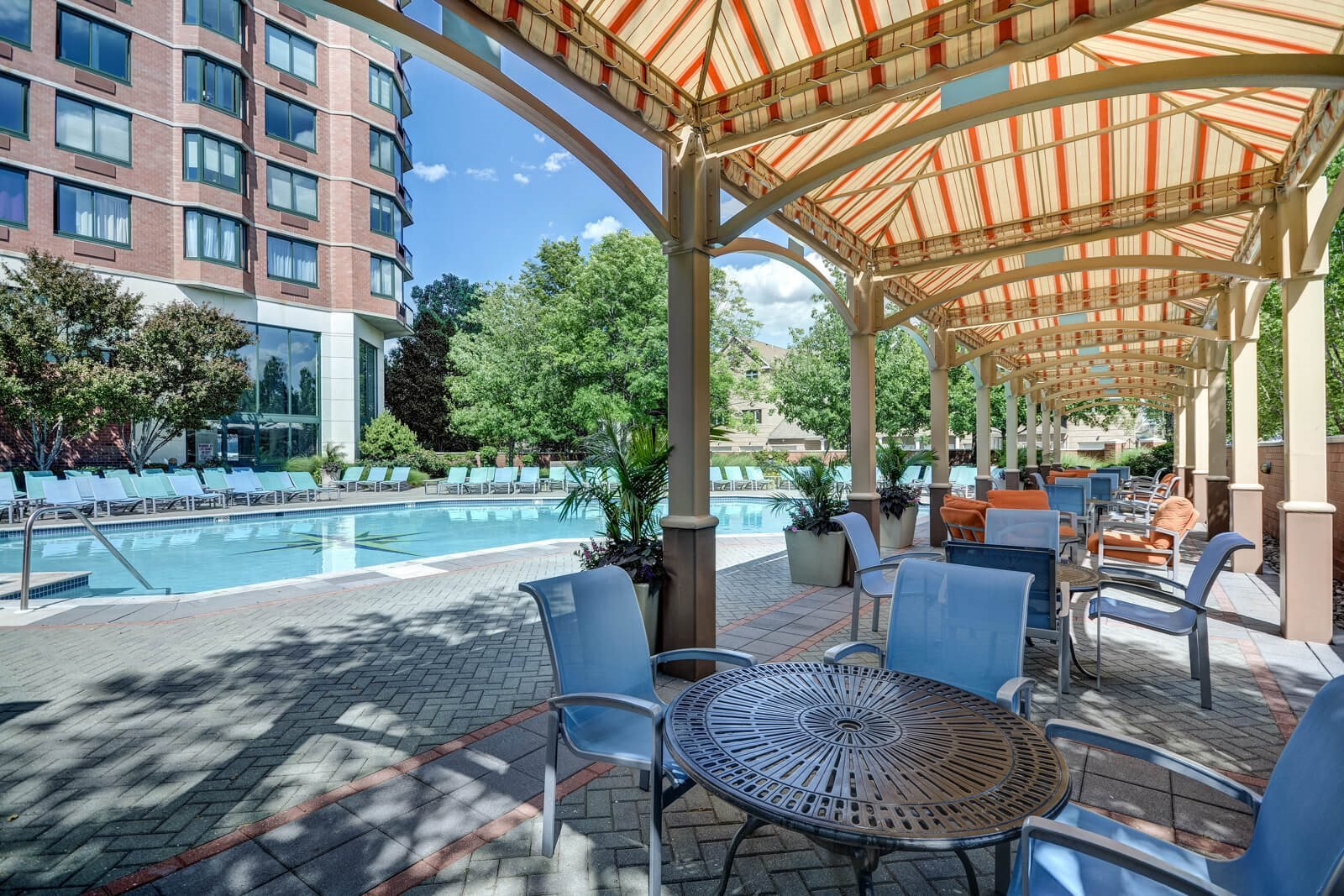 Poolside Sundeck with Shaded Lounge Area at Windsor at Mariners, 07020, NJ