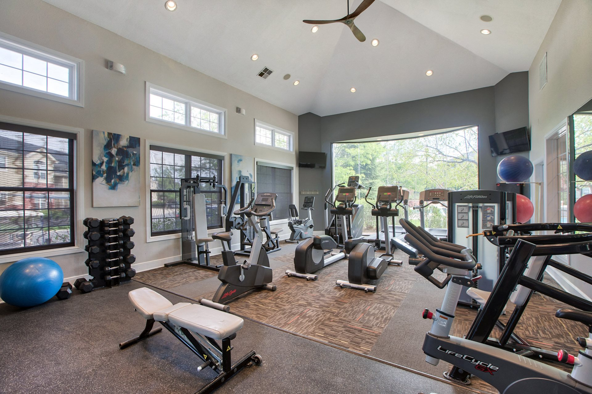 Cardio Equipment with a Tranquil View at Windsor at Meadow Hills, Colorado, 80014