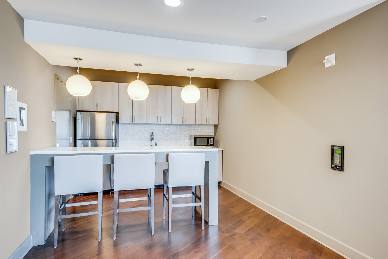 Resident lounge kitchenette at Twenty50 by Windsor, 07024, NJ