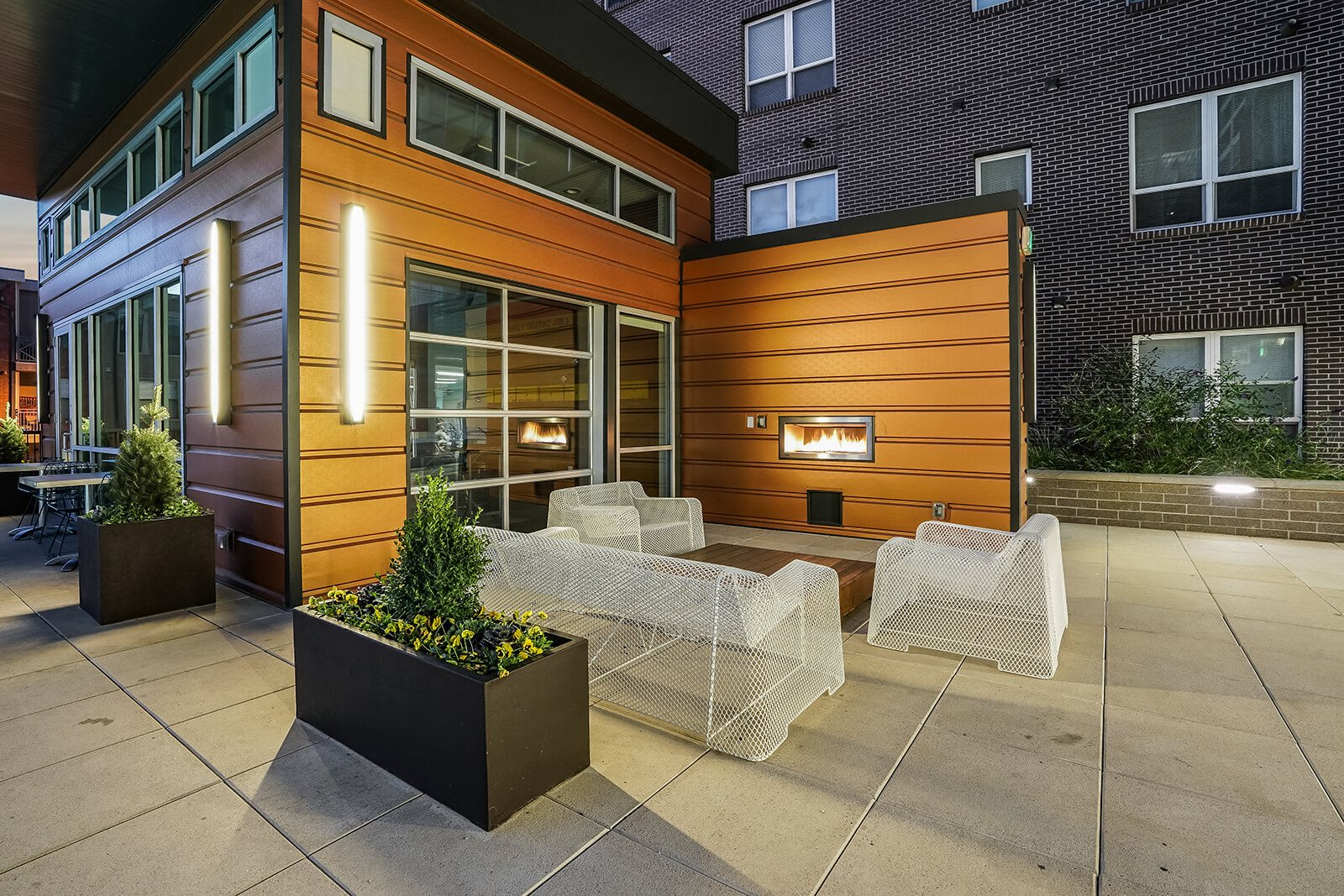 Outdoor Fireplace and Lounge Area at The Casey, Denver, 80202