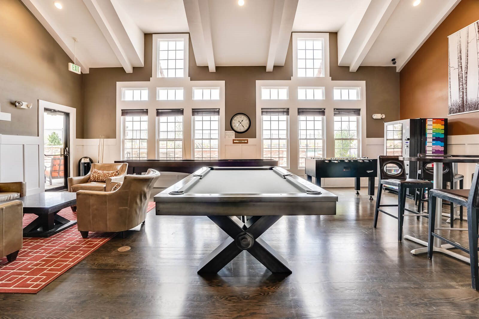 Recreation Room with Billiards and Foosball Tables at Windsor at Meridian, Colorado, 80112