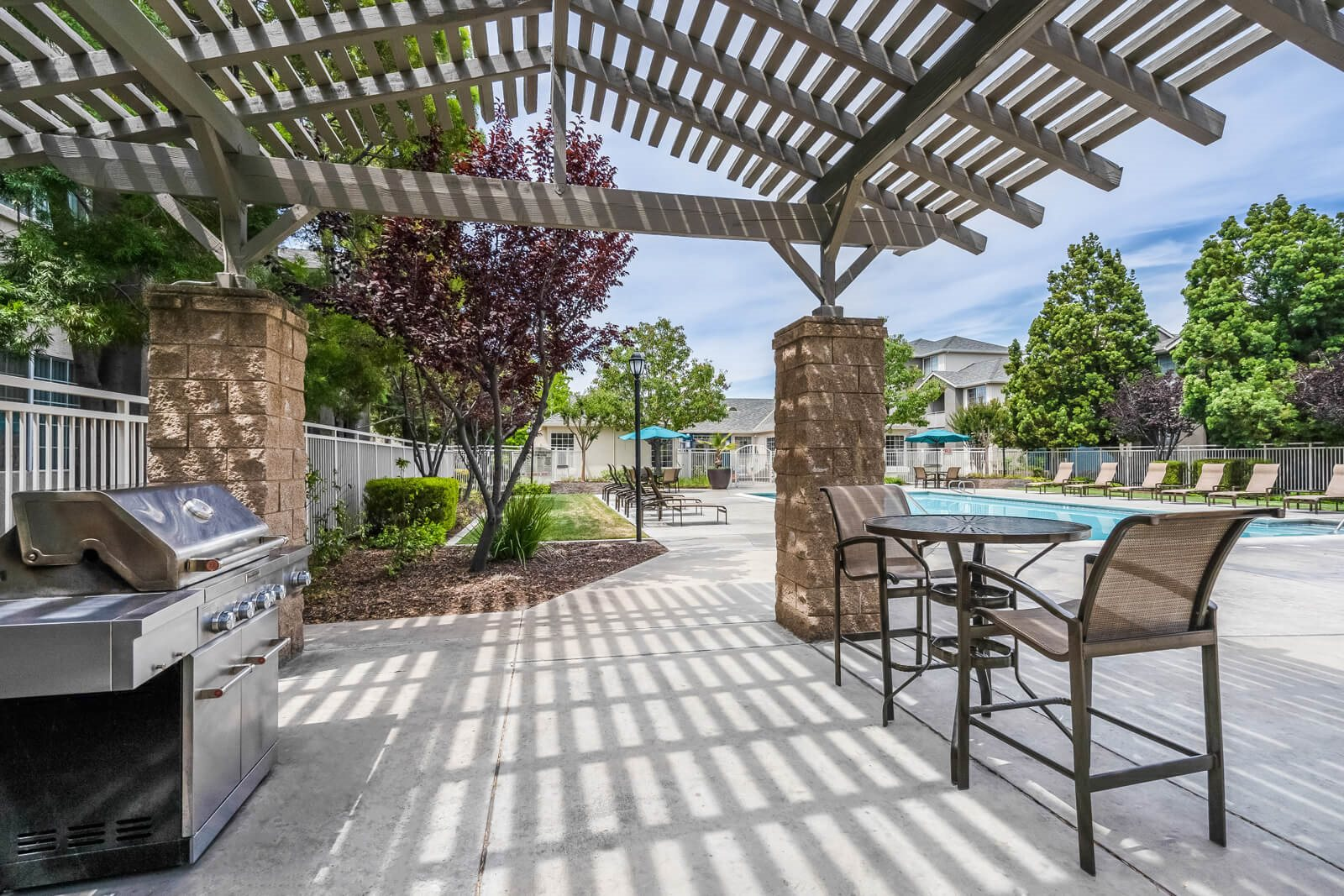 Poolside Grilling Area at Pavona Apartments, 760 N. 7th Street, San Jose