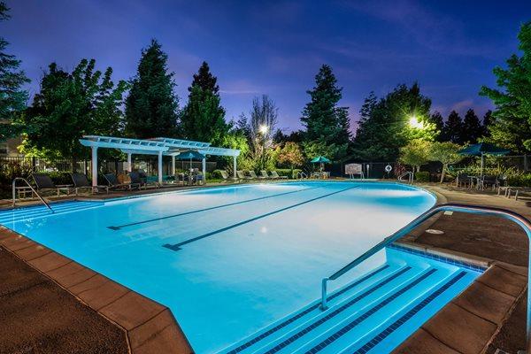Lighted Pool At Night Windsor Redwood Creek Rohnert Park California