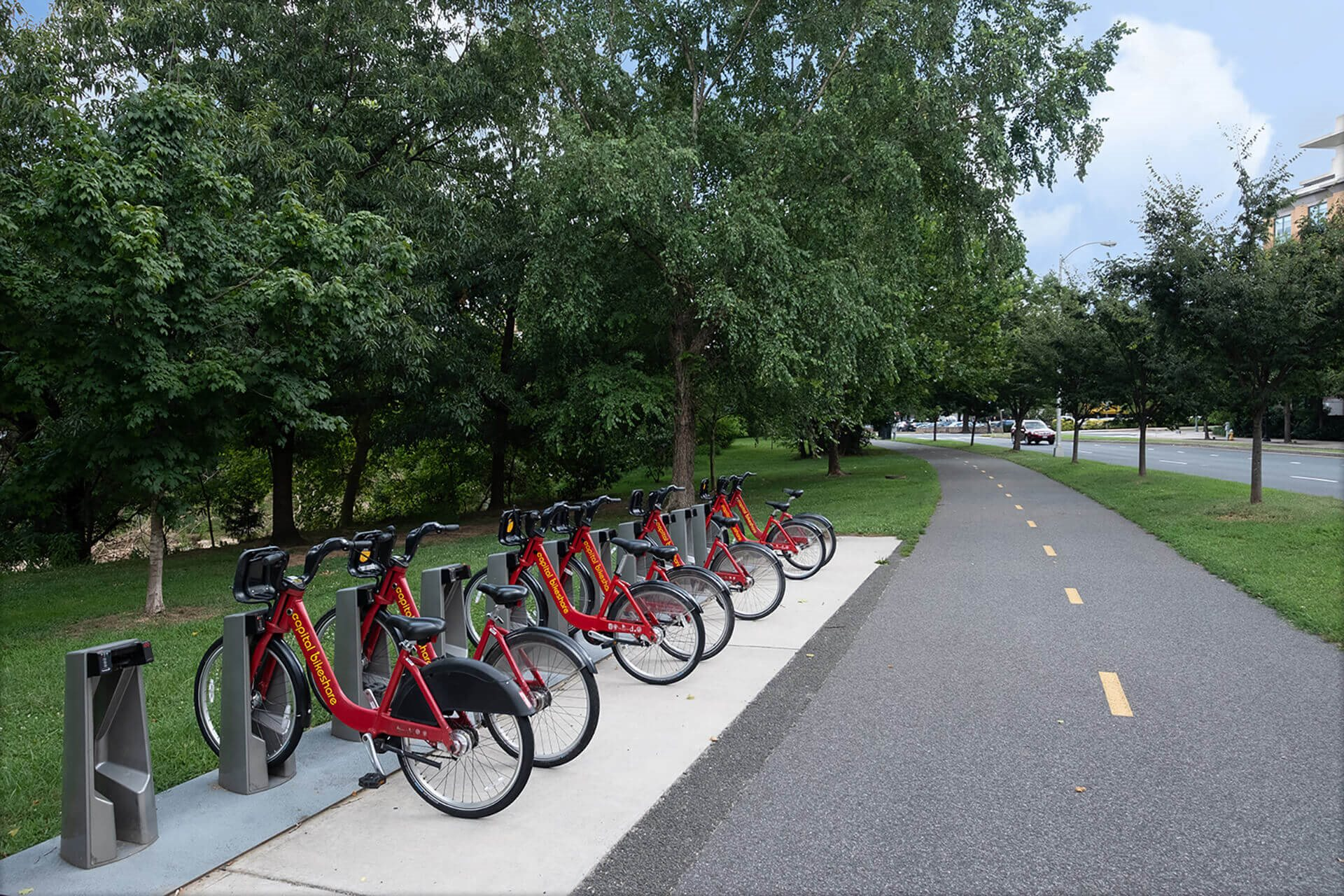 Ride a bike on Four Mile Run trail near IO Piazza by Windsor, 2727 South Quincy Street, VA