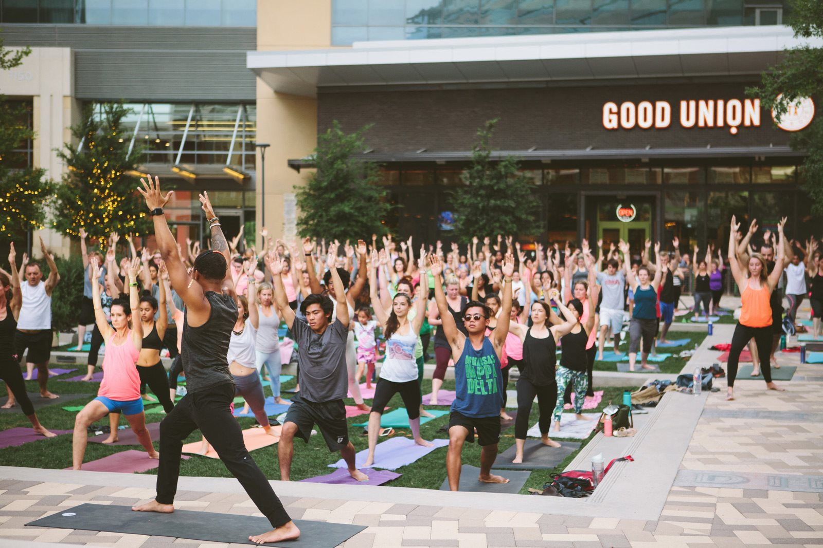 Reef Point's free yoga in the park every Saturday morning at 9 am at Windsor CityLine, Richardson, TX