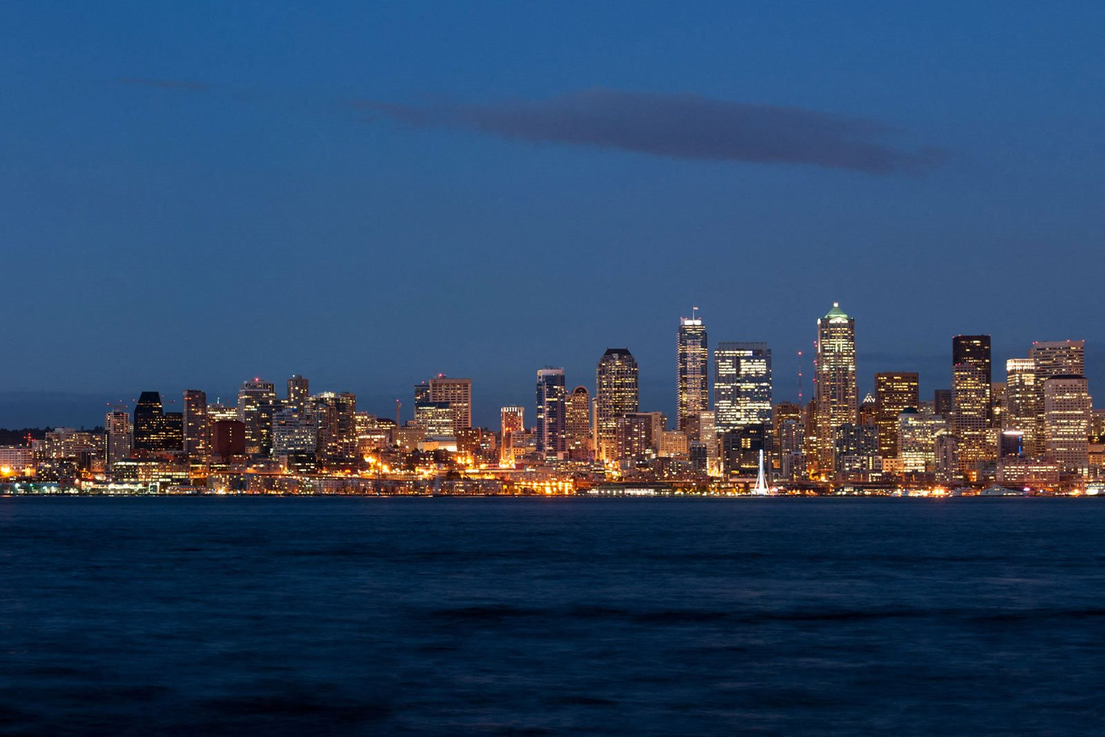 Magical View of Seattle Skyline and Puget Sound at The Whittaker, Seattle, Washington