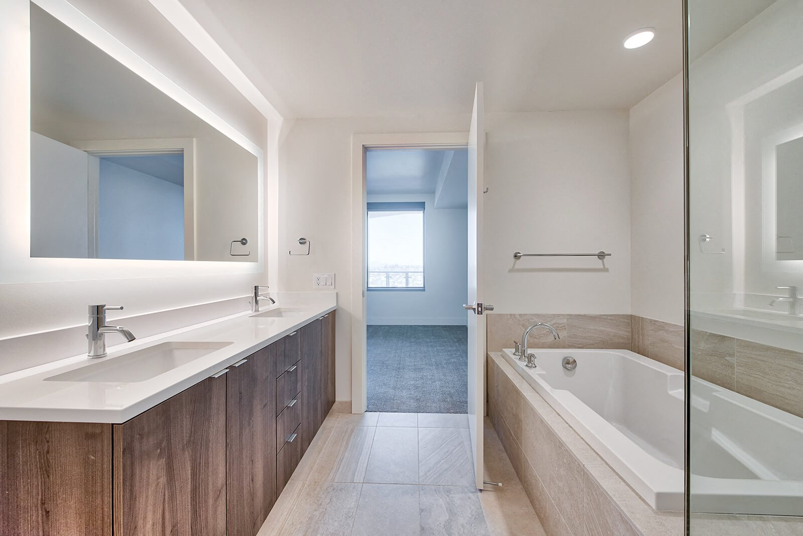 Spa-Inspired Bathroom With Shower And Soaking Tub at Stratus, Seattle