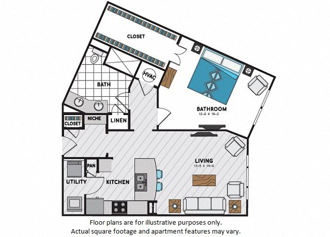 A10 One Bedroom One Bath Floor Plan at Windsor Chastain, 225 Franklin Rd NE, Atlanta