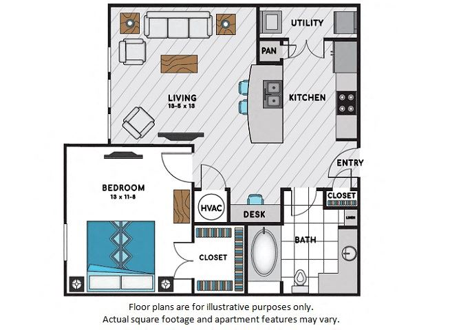 A1 One Bedroom One Bath Floor Plan at Windsor Chastain, GA, 30342