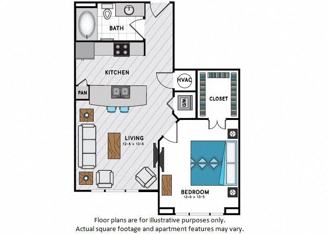 A2 One Bedroom One Bath Floor Plan at Windsor Chastain, 225 Franklin Rd NE, GA
