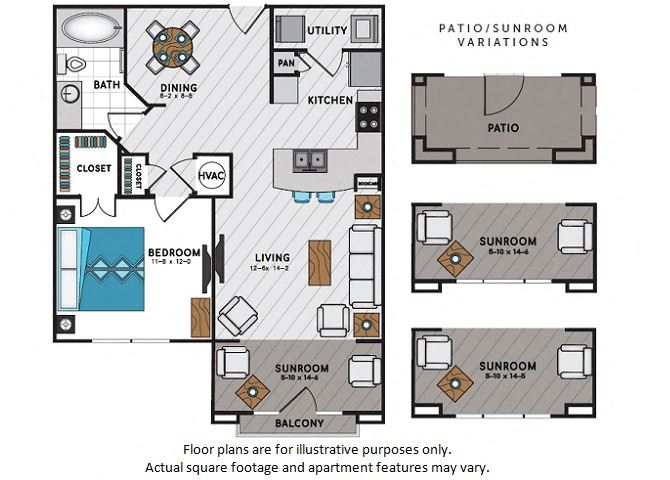 A4 One Bedroom One Bath Floor Plan at Windsor Chastain, Atlanta, Georgia