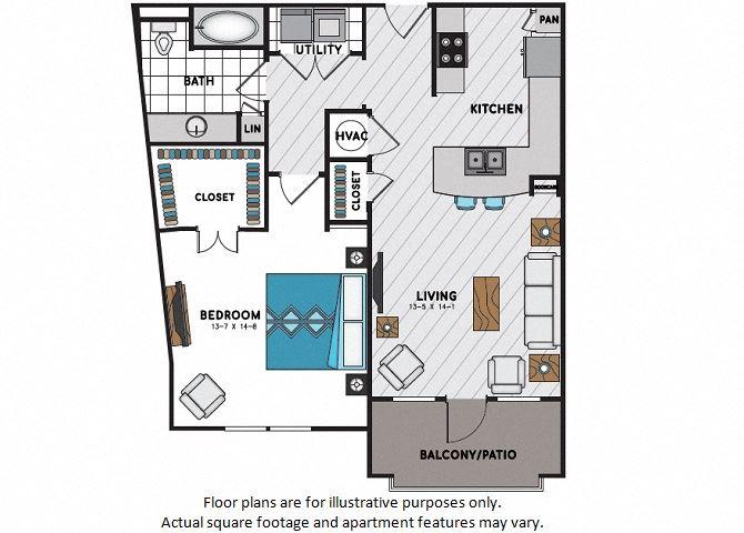 A5 One Bedroom One Bath Floor Plan at Windsor Chastain, Atlanta, GA