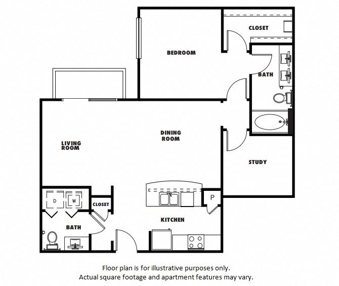 A6 floor plan at Windsor Metro West, TX, 75024