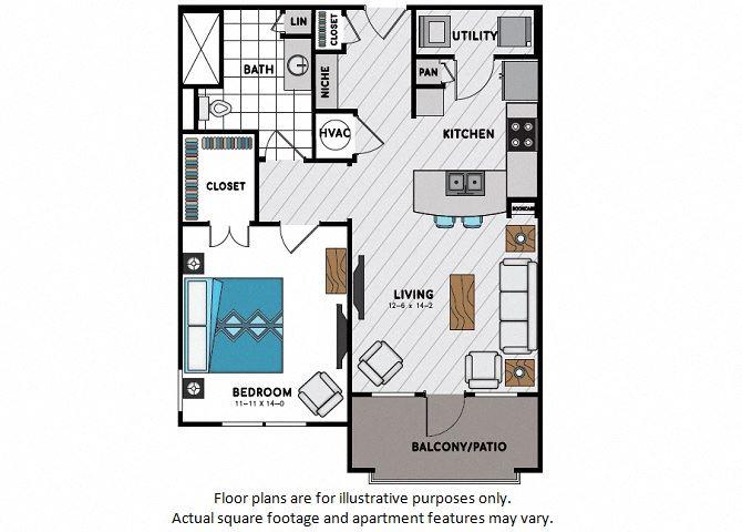 A6 One Bedroom One Bath Floor Plan at Windsor Chastain, 225 Franklin Rd NE, GA