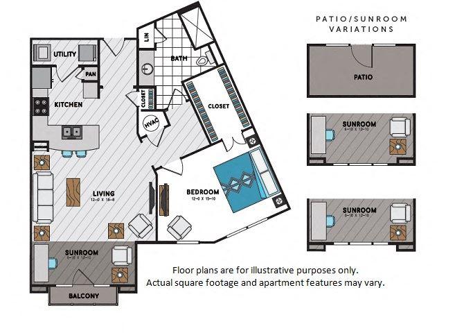A8 One Bedroom One Bath Floor Plan at Windsor Chastain, 225 Franklin Rd NE, Atlanta