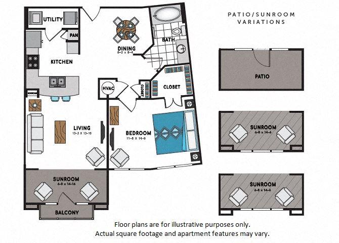 A9 One Bedroom One Bath Floor Plan at Windsor Chastain, Atlanta, GA
