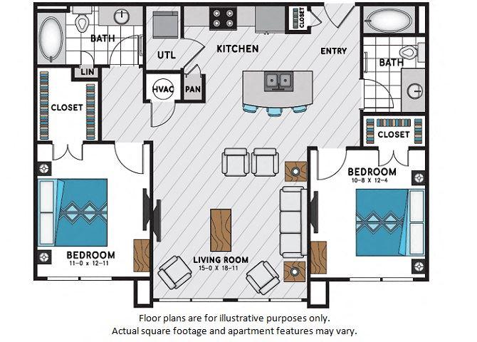 B1 Two Bedroom Two Bath Floor Plan at Windsor Chastain, Atlanta, Georgia