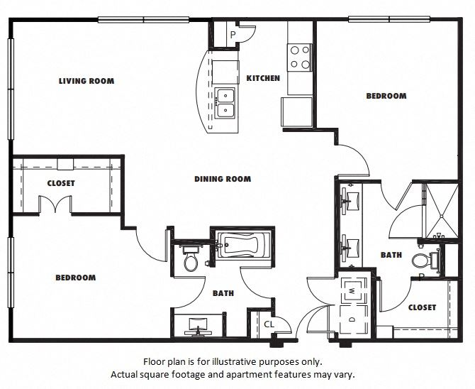 B2 floor plan at Windsor Metro West, TX, 75024