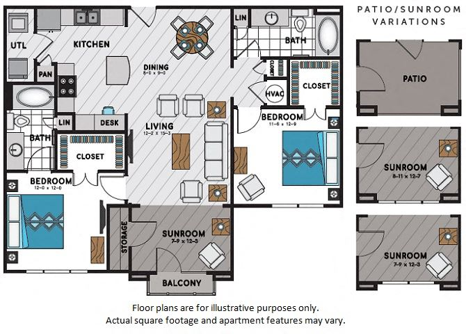 B2 Two Bedroom Two Bath Floor Plan at Windsor Chastain, GA, 30342