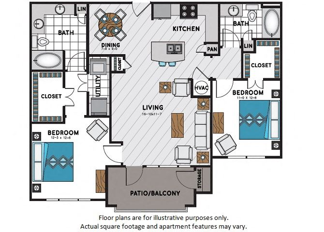 B3 Two Bedroom Two Bath Floor Plan at Windsor Chastain, Georgia, 30342