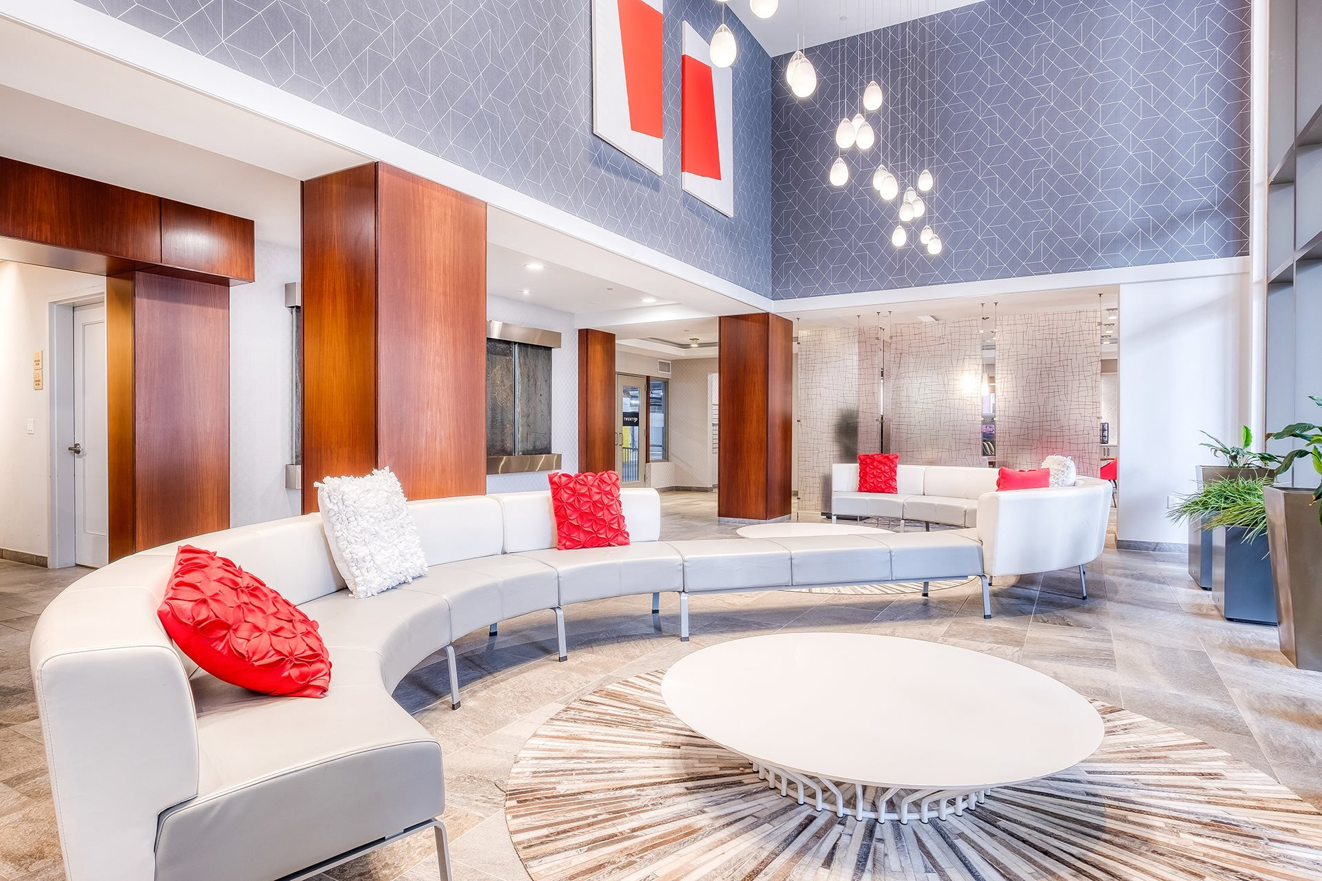 Atrium Style Lobby at Twenty50 by Windsor, Fort Lee, New Jersey
