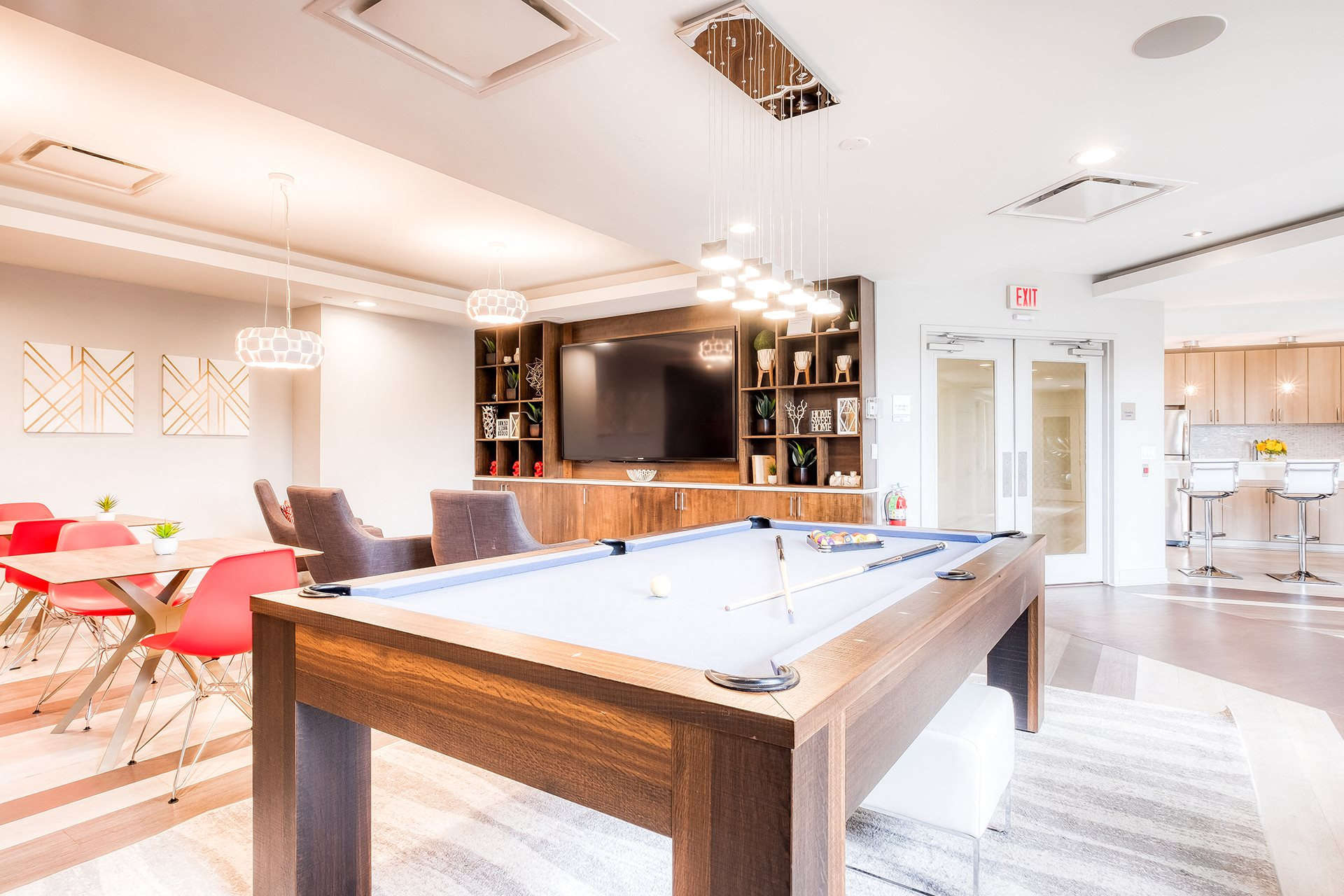 Recreation Room with Billiards Table at Twenty50 by Windsor, Fort Lee, New Jersey