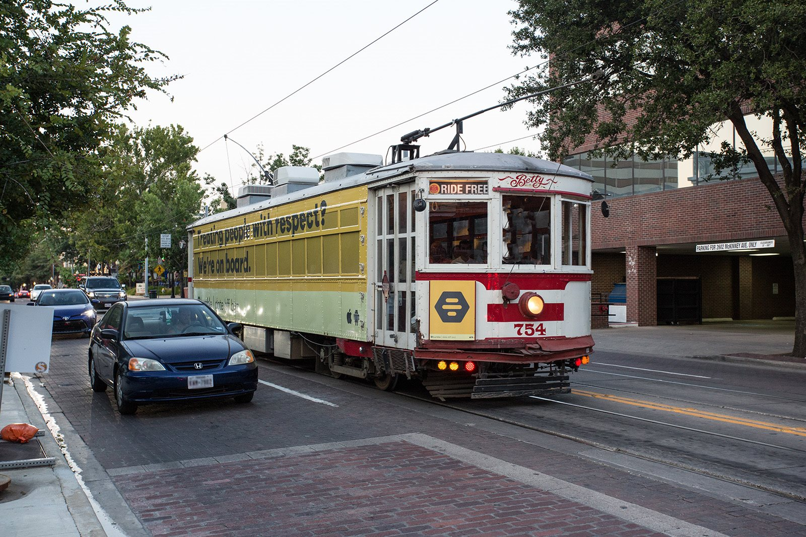 M-Line Trolley Stop Two Blocks from at Trianon by Windsor, Dallas, Texas
