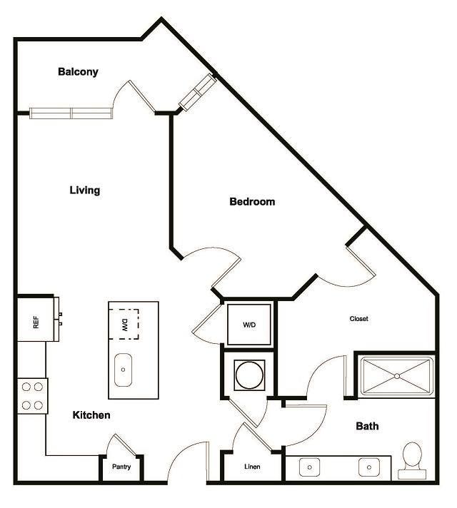 1 Bedroom 1 Bath Floor Plan at Elevate West Village, Smyrna, 30080