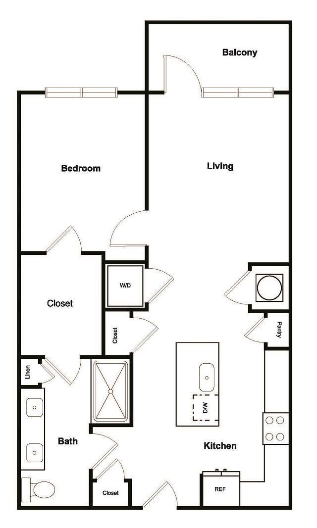 1 Bed 1 Bath Floor Plan at Elevate West Village, Georgia