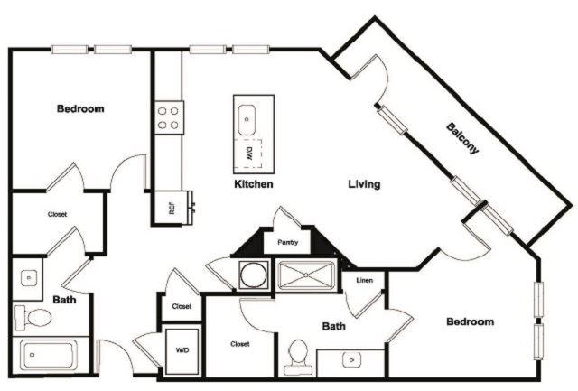 B1 2 Bed 2 Bath Floor Plan at Elevate West Village, Smyrna, GA, 30080