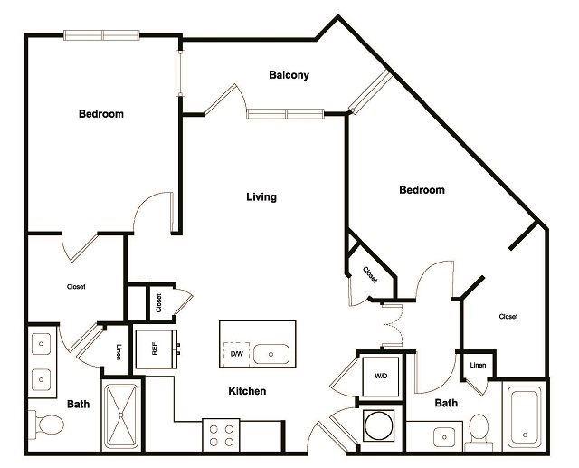 B2 2 Bedroom 2 Bathroom Floor Plan at Elevate West Village, Smyrna, GA